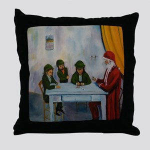 Christmas Day Card Players Throw Pillow
