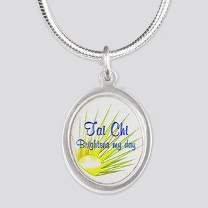 Tai Chi Brightens Silver Oval Necklace