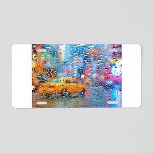 Times Sq. Taxi: Rain Storm Aluminum License Plate