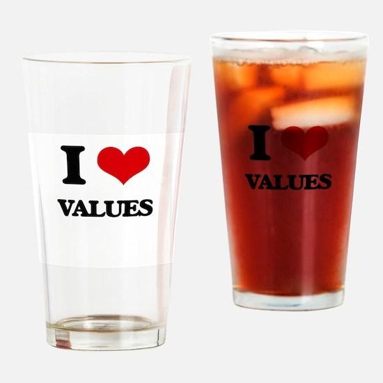 I love Values Drinking Glass