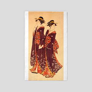 Two Geisha A Ukiyo-E By Kiyonaga Area Rug