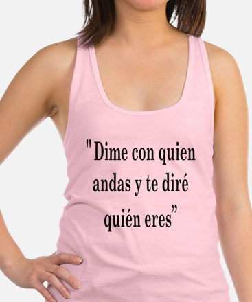 Tell me with who Racerback Tank Top