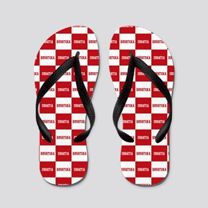 Croatia - Hrvatska Checkered Flip Flops