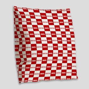 Croatia - Hrvatska Checkered Burlap Throw Pillow