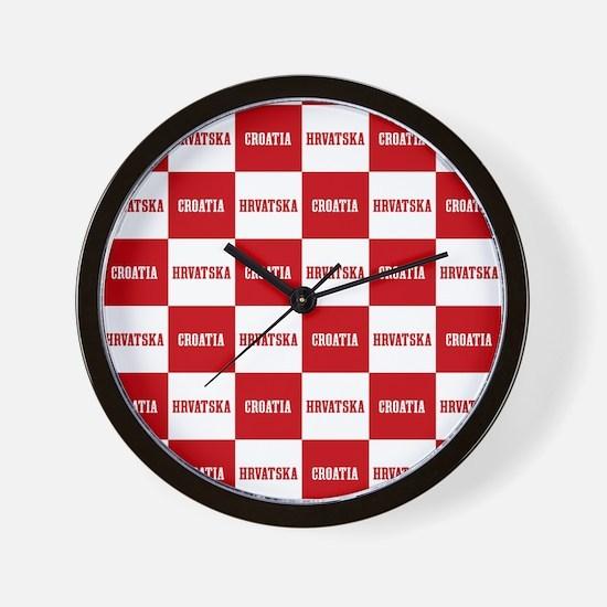 Croatia - Hrvatska Checkered Wall Clock