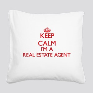 Keep calm I'm a Real Estate A Square Canvas Pillow