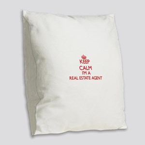 Keep calm I'm a Real Estate Ag Burlap Throw Pillow