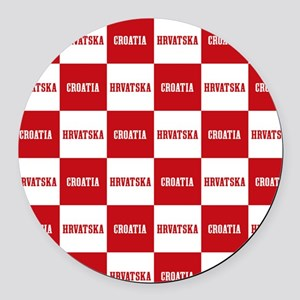 Croatia - Hrvatska Checkered Round Car Magnet