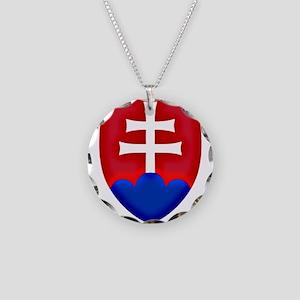 Slovakia Ice Hockey Emblem - Necklace Circle Charm