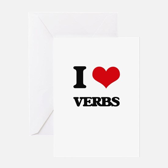 I love Verbs Greeting Cards