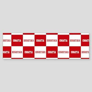 Croatia - Hrvatska Checkered Bumper Sticker