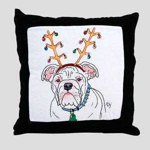 Holiday Bulldog Throw Pillow