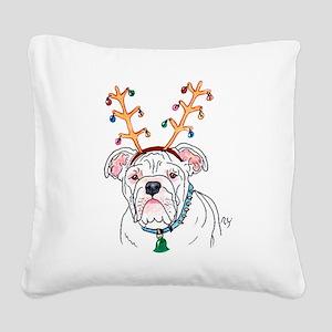 Holiday Bulldog Square Canvas Pillow
