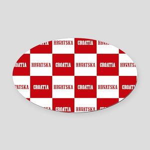 Croatia - Hrvatska Checkered Oval Car Magnet