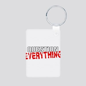 Question Everything Aluminum Photo Keychain