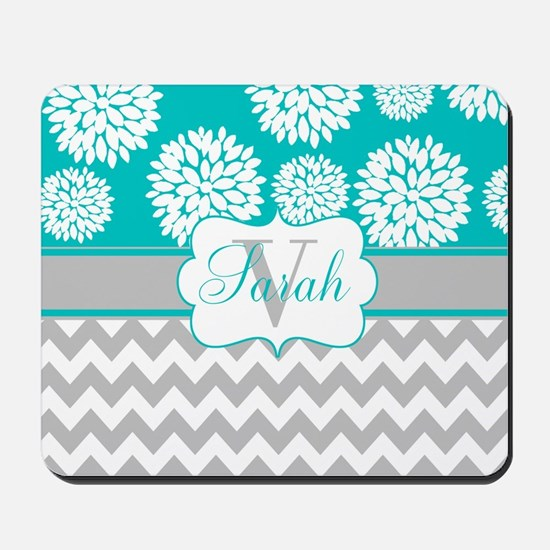 Gray Teal Chevron Blooms Personalized Mousepad