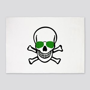 skull hacker t-shirt numbers comput 5'x7'Area Rug