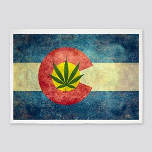Colorado Weed Flag 5'x7'Area Rug