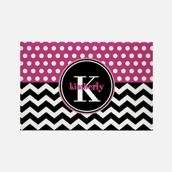 Pink Polka Dots Black Chevron Mon Rectangle Magnet