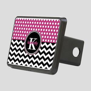 Pink Polka Dots Black Chev Rectangular Hitch Cover