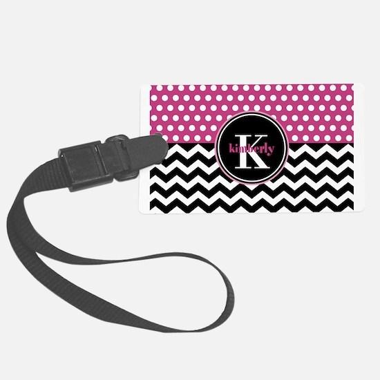 Pink Polka Dots Black Chevron Mo Large Luggage Tag