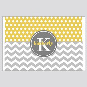 Yellow Gray Dots Chevron Monogram Large Poster