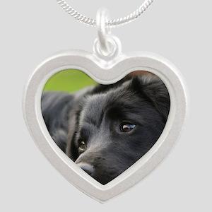Black Lab Silver Heart Necklace