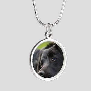 Black Lab Silver Round Necklace