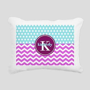 Aqua and Pink Chevron Po Rectangular Canvas Pillow