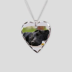 Black Lab Necklace Heart Charm