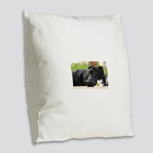 Black Lab Burlap Throw Pillow