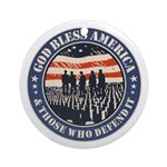 God Bless America Round Ornament