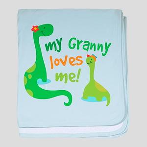 My Granny Loves Me Dinosaur baby blanket