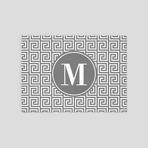 Gray White Greek Key Custom Monogra 5 X7 Area Rug