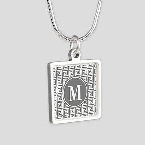 Gray White Greek Key Custo Silver Square Necklace