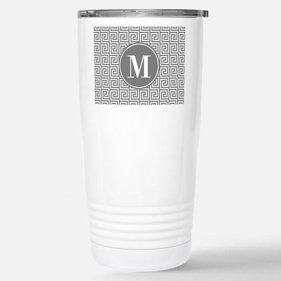 Gray White Greek Key Cu Stainless Steel Travel Mug