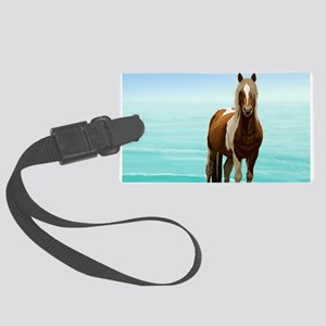 Chincoteague Paint Pony at Surf' Large Luggage Tag