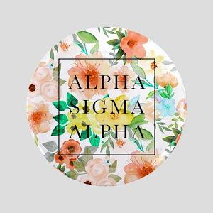 "Alpha Sigma Alpha Floral 3.5"" Button"