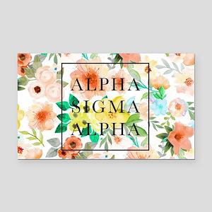 Alpha Sigma Alpha Floral Rectangle Car Magnet