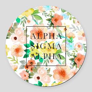 Alpha Sigma Alpha Floral Round Car Magnet