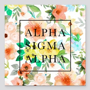 "Alpha Sigma Alpha Floral Square Car Magnet 3"" x 3"""