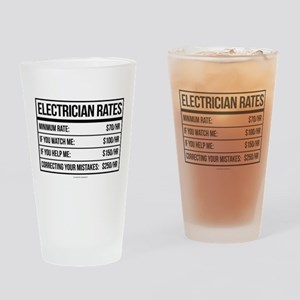 Electrician Rates Humor Drinking Glass