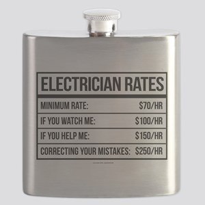 Electrician Rates Humor Flask