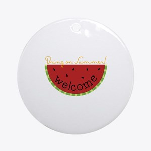Summer Watermelon Welcome Ornament (Round)