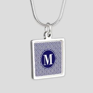 Navy Blue White Greek Key Silver Square Necklace