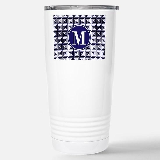 Navy Blue White Greek K Stainless Steel Travel Mug