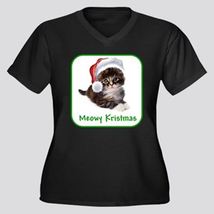 Christmas Kitty Cat Plus Size T-Shirt
