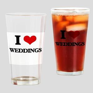 I love Weddings Drinking Glass