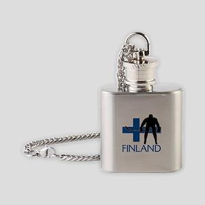 Finland Hockey Flask Necklace