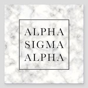 "Alpha Sigma Alpha Marble Square Car Magnet 3"" x 3"""